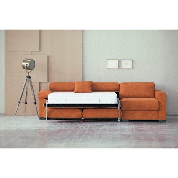 Sofa cama italiano chaise longue con arcón tela