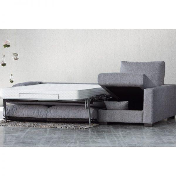 Sofá cama chaise longue Jessica apertura italiana colchón visco 12 o 16 cm