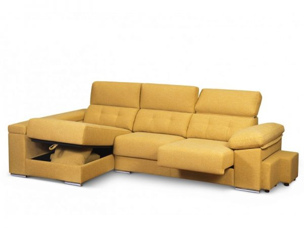 Chaise Longue Kiev asientos extraibles deslizantes y arcón en brazos y en modulo chaiselong