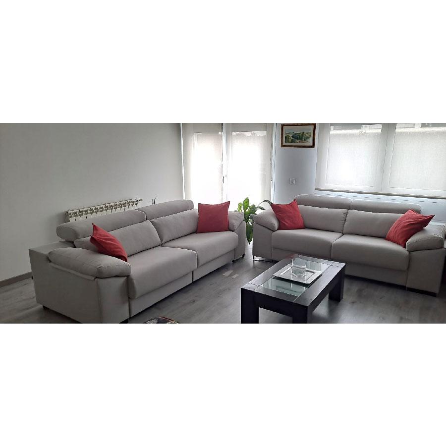 sofa Natura 4 + 3 plazas tela jazmin