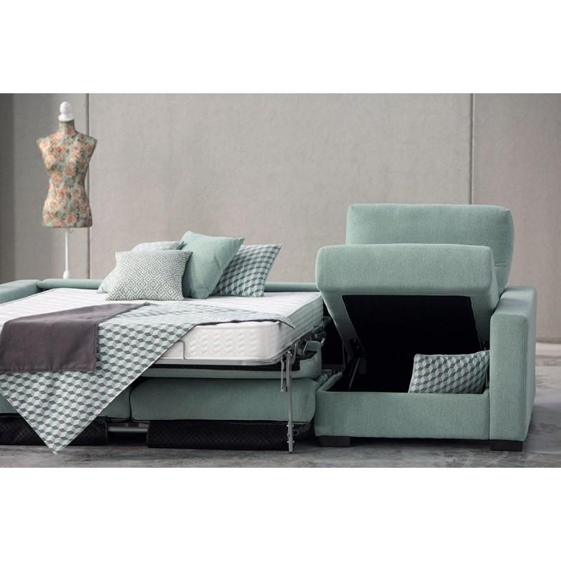 Sofá cama chaise longue Nora apertura italiana colchón visco 16 cm