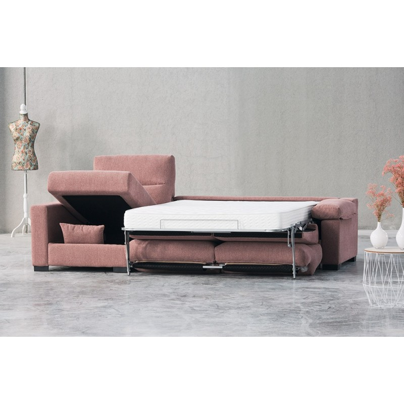 Sofá cama chaise longue Eden apertura italiana colchón visco 12 o 16 cm