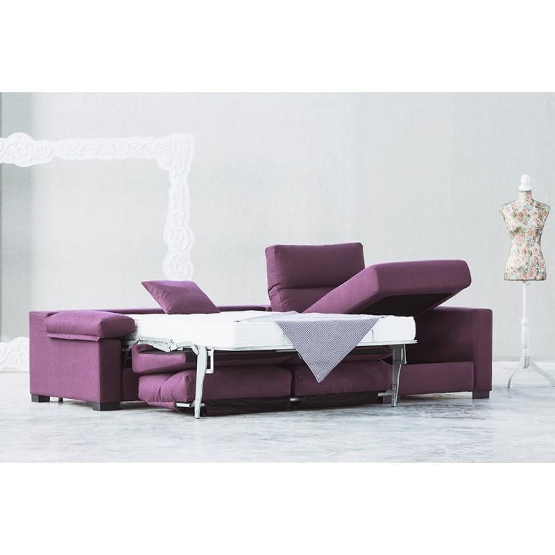 Sofá cama chaise longue Marga apertura italiana colchón visco 12 o 16 cm