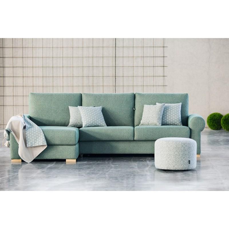 Sofá cama chaise longue Rita apertura italiana colchón visco16 cm