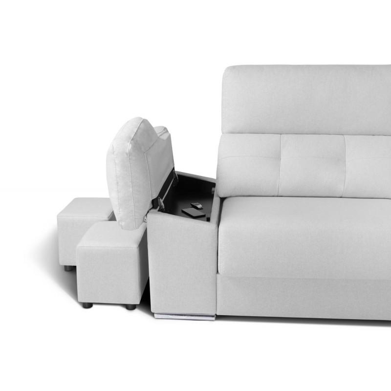 Sofá Kiev asientos extraibles deslizantes y arcón en brazos y 2 pouff