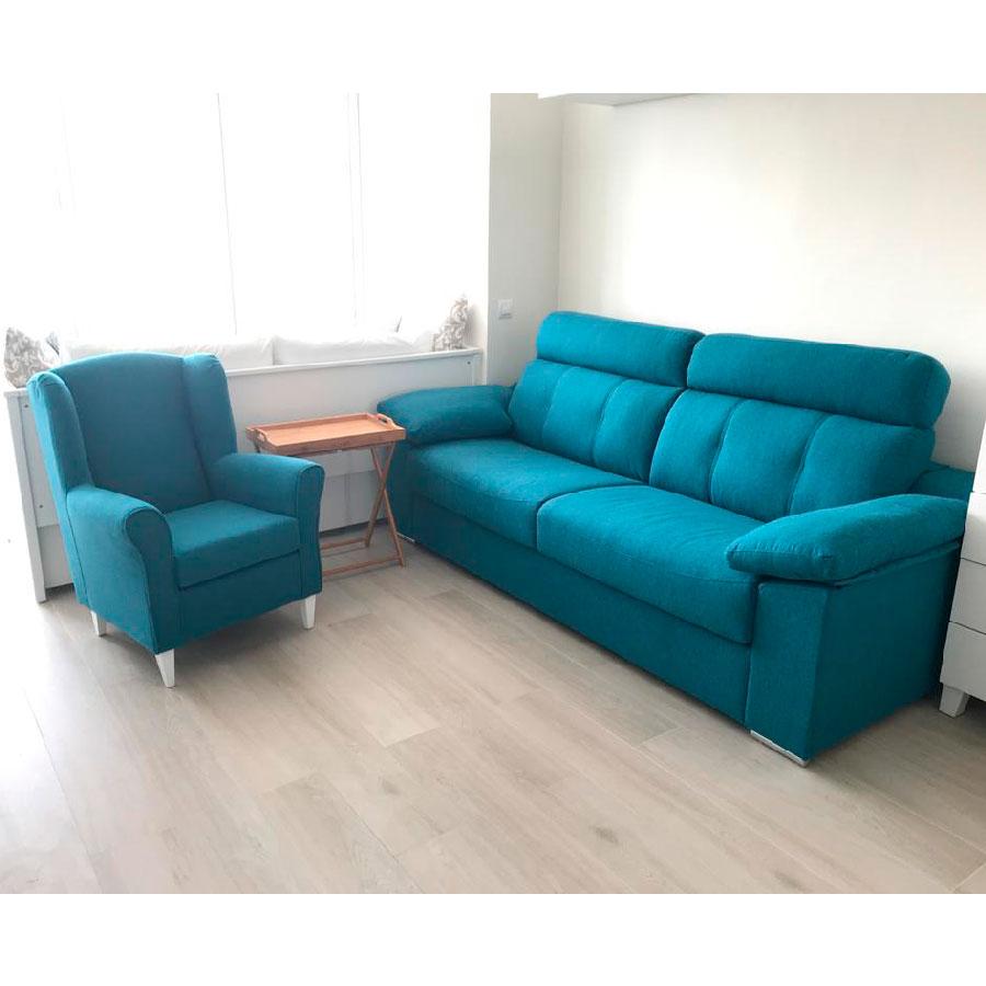 Entrega sofa cama Savona y butaca en jazmin azul