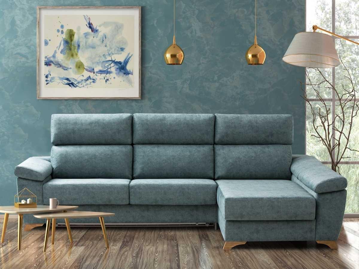 Sofa cama chaiselongue Mauro en salon